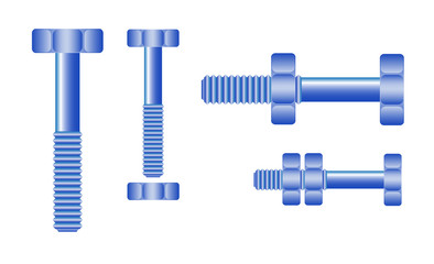 Set of blue bolts and nuts