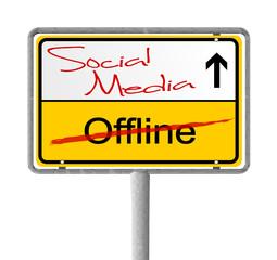 Ortsausgangsschild Social Media