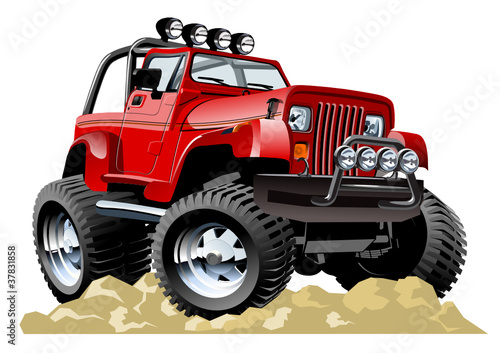 Keuken foto achterwand Cartoon cars Vector cartoon jeep one-click repaint