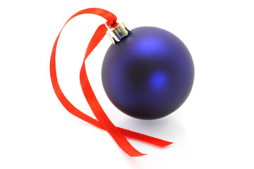Blue Christmas ball with ribbon