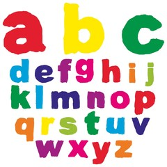 Vector children paint font isolated