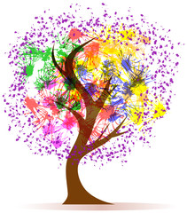 Abstract colorful tree, illustration,isolated on white back