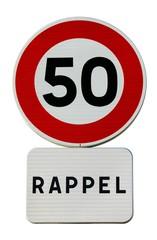 Rappel de vitesse limitée à 50 km/h