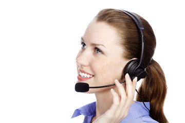 Headshot of beautiful customer service operator woman