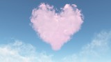 pink heart from clouds poster