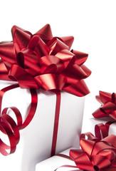 white gift boxes on white background