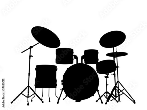 Simple Drum Silhouette Drummer outline silhouette White Drum Set Silhouette