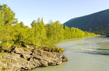 At the river.