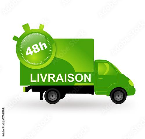 livraison 48 heures sur camion vert fichier vectoriel libre de droits sur la banque d 39 images. Black Bedroom Furniture Sets. Home Design Ideas
