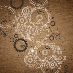 old paper background with painted gears