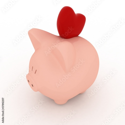 Piggy bank with hearts. 3d render illustration.
