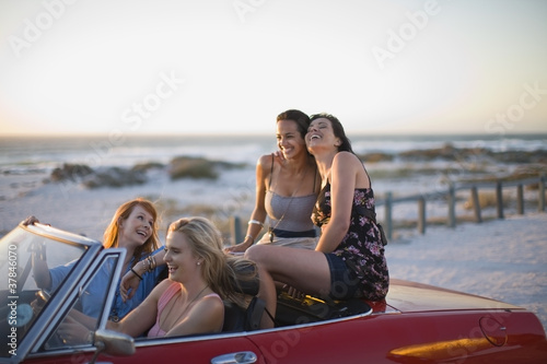 girls riding in a car