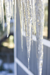 Icicles hanging off eaves