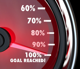 Speedometer Needle Hits 100 Percent Goal Reached