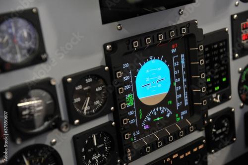 Leinwanddruck Bild cockpit control