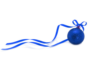 Blue Christmas ball with ribbon on white background