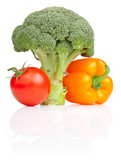 Set of Fresh vegetables: Broccoli, tomato and Yellow Bell Pepper