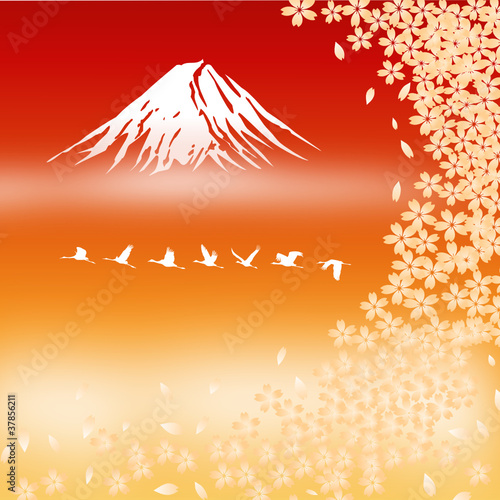 Fuji Mt. with Cherry flowers, vector image