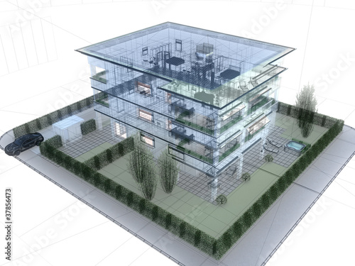 appartamento rendering 3d exterior architettura progetto - 37856473