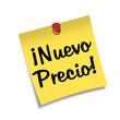 Post-it con chincheta texto ¡Nuevo Precio!