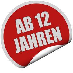 Sticker rot rund curl unten AB 12 JAHREN