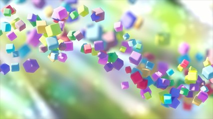 Looped animation of abstract colored cubes