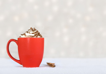 hot chocolate in a red mug - winter treat