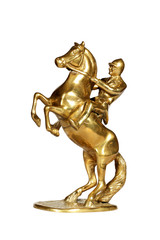 Brass statue of the jockey on a horse with clipping path.