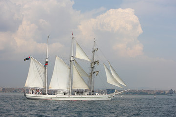 old white sailing ship