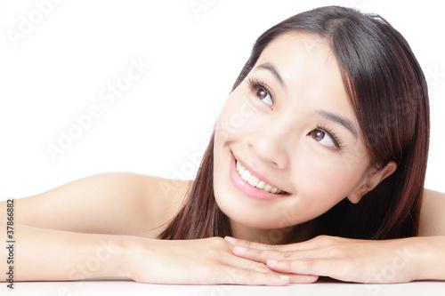 Beautiful asian woman smile face