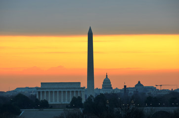 Washington DC - Monuments and Capitol building at sunrise