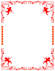 Lovely Border with cupids, hearts, and floral pattern