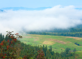 Cloudy Carpathian mountain
