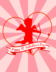 Valentine Cupid on Starburst Background. Vector eps8 / jpeg