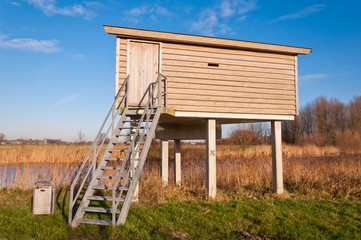 Birdwatching hut in a Duch nature reserve