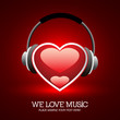 We Love Music - Heart With Headphone