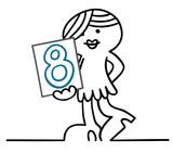 figur nummerngirl zeigt runde 8
