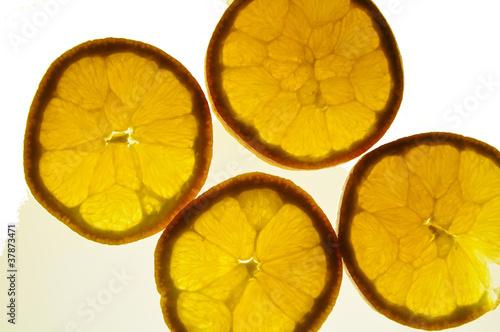 Fotobehang Plakjes fruit Apfelsine