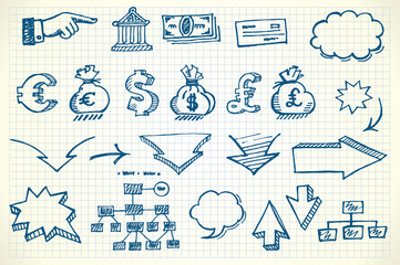 Hand-drawn currency illustration set