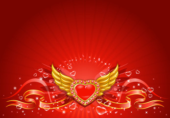 Winged flying golden hearts 3