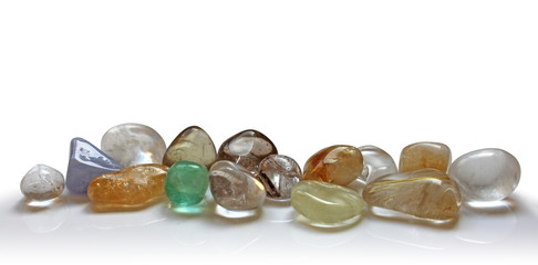 Row of beautiful healing crystals