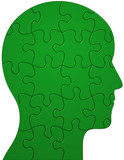 Profile of a head showing jigsaw/puzzle pieces