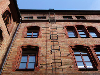 fire-escape ladder on an old building
