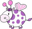Happy Fairy Cow Vector Illustration