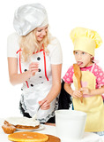 Two chefs rubs cream cake poster