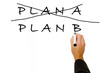 Business plan strategy changing. hand crossing over Plan A, writ