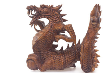 Wooden dragon, symbol of chinese new year, isolated on white