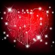 Sfondo con cuore su schema elettrico - Heart electric board