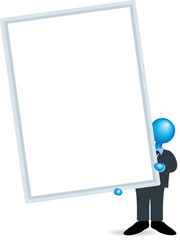 man holding big blank portrait sign-blue heads