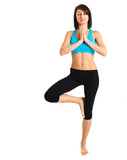 woman working out yoga exercise, isolated on white background